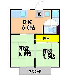 MIYAKEコーポB棟[2階]の間取り