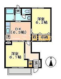 兵庫県西脇市高田井町の賃貸アパートの間取り
