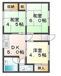 [一戸建] 岡山県岡山市南区平福2丁目 の賃貸【/】の間取り