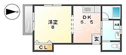 オークハイツ神明6[D号室]の間取り
