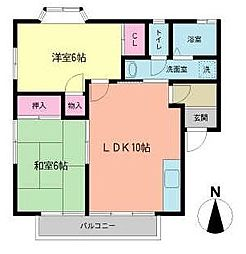 福岡県北九州市小倉南区蒲生3丁目の賃貸アパートの間取り