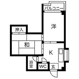 ロイヤル神路II[2階]の間取り