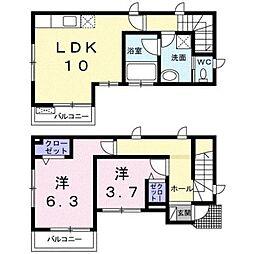 京王井の頭線 永福町駅 徒歩8分の賃貸一戸建て 1階2LDKの間取り