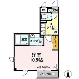 都営三田線 西巣鴨駅 徒歩9分の賃貸マンション 3階1Kの間取り