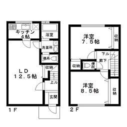 [テラスハウス] 神奈川県座間市四ツ谷 の賃貸【/】の間取り
