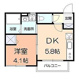 コンソラータ 2階1DKの間取り