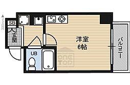 Osaka Metro谷町線 都島駅 徒歩4分の賃貸マンション 2階ワンルームの間取り