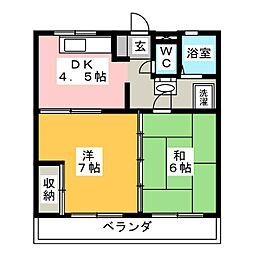 コーポ竹本A[2階]の間取り