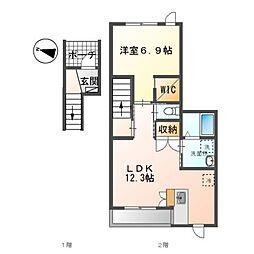 (仮)裾野市佐野アパート新築工事 2階1LDKの間取り