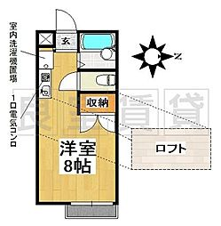 愛知県名古屋市千種区春里町2丁目の賃貸アパートの間取り