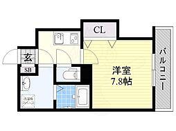 Glad Kishibe 5階1Kの間取り