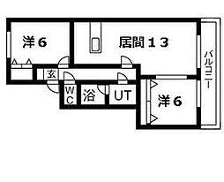 北海道札幌市南区真駒内本町7丁目の賃貸アパートの間取り