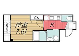 JR内房線 五井駅 徒歩3分の賃貸アパート 2階1Kの間取り