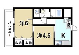 奈良県奈良市学園大和町5丁目の賃貸マンションの間取り