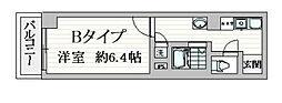 都営浅草線 戸越駅 徒歩1分の賃貸マンション 5階1Kの間取り