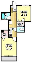 ワールドパレス戸越[3階]の間取り