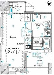 ザ・タワー芝浦 3階ワンルームの間取り