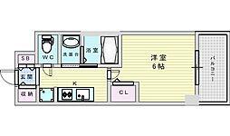 Osaka Metro御堂筋線 西中島南方駅 徒歩9分の賃貸マンション 6階1Kの間取り