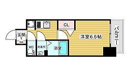 スワンズシティ新大阪ヴィーヴォ 9階1Kの間取り