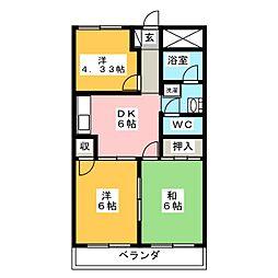 愛知県名古屋市北区上飯田南町1丁目の賃貸マンションの間取り