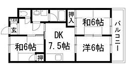 兵庫県宝塚市山本野里2丁目の賃貸マンションの間取り
