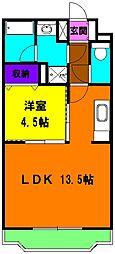 静岡県磐田市福田中島の賃貸マンションの間取り