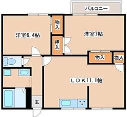 メゾン福田[A202号室]の間取り
