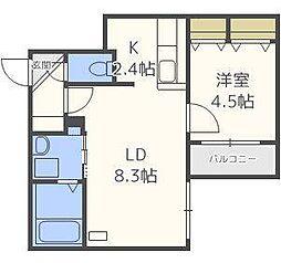 仮)北14東1マンション[2階]の間取り