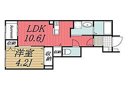 JR総武本線 八街駅 徒歩16分の賃貸アパート 1階1LDKの間取り