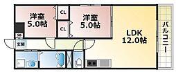 フェリオ永田[2階]の間取り