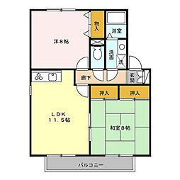 コートヴィレッジB[1階]の間取り