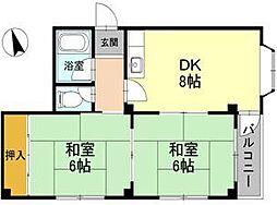 フォンタル堺東[3階]の間取り