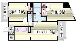シークリサンス神戸 5階2LDKの間取り