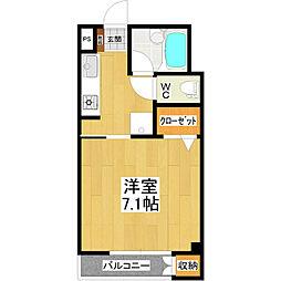 JR常磐線 土浦駅 徒歩20分の賃貸マンション 3階1Kの間取り