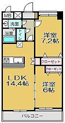 福岡県北九州市小倉南区守恒1丁目の賃貸マンションの間取り
