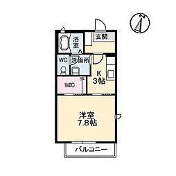 広島県東広島市西条下見6丁目の賃貸アパートの間取り