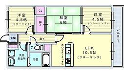 パーシモン千里 3階3LDKの間取り