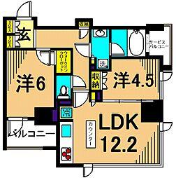 シティハウス東大井 3階2LDKの間取り