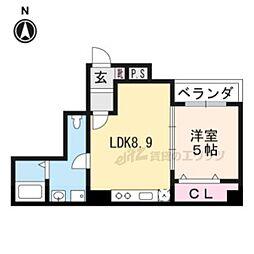 京都市営烏丸線 五条駅 徒歩8分の賃貸アパート 3階1LDKの間取り