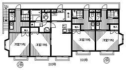 スカイハイツ菊間II[202号室]の間取り
