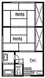 柏田荘[2号室]の間取り