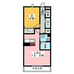 仮)アメニティー菖蒲沢アパート 3階1LDKの間取り