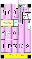 千葉県松戸市小金の賃貸マンションの間取り