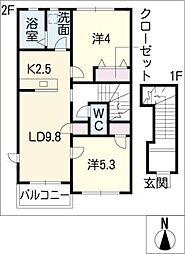 ソレイユ二重堀B棟[2階]の間取り