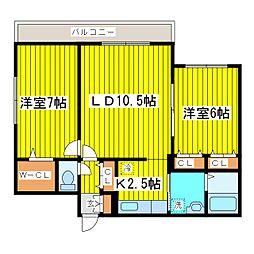 北海道札幌市東区北十一条東13丁目の賃貸マンションの間取り