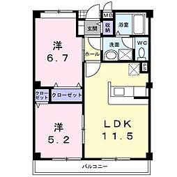 愛知県西尾市今川町石橋の賃貸アパートの間取り