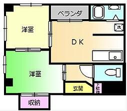 大阪府堺市堺区中安井町1丁の賃貸マンションの間取り
