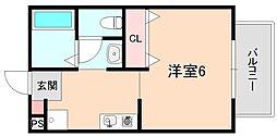 メゾンソレイユ岡町[203号室]の間取り