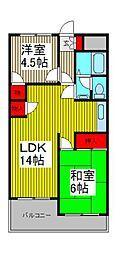 新田第5中島ハイツ[106号室]の間取り
