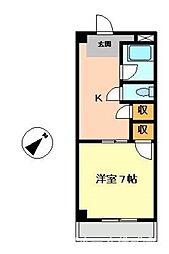 徳島県徳島市二軒屋町2丁目の賃貸マンションの間取り